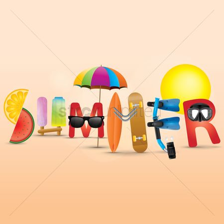 Watermelon slice : Summer lettering design