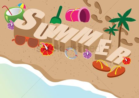 Slippers : Summer lettering design