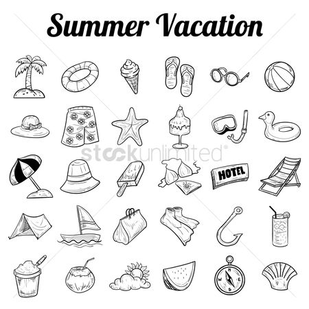 Watermelon : Summer vacation icon collection
