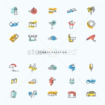 Drinking : Summer vacation icon set