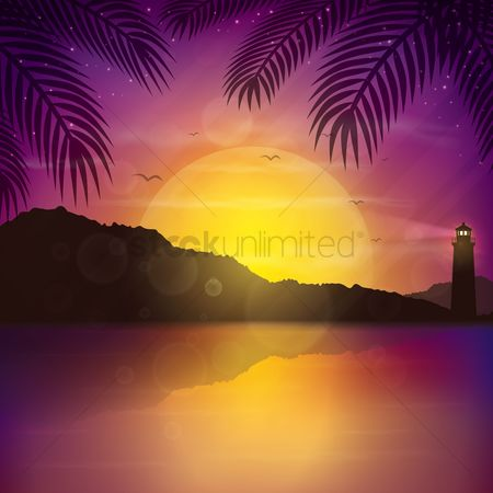 Lighthouses : Sunset background
