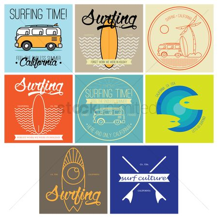 Seashore : Surfing time design set
