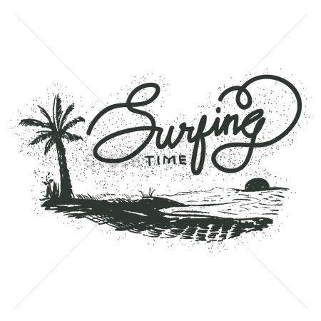Surf beach : Surfing time typography