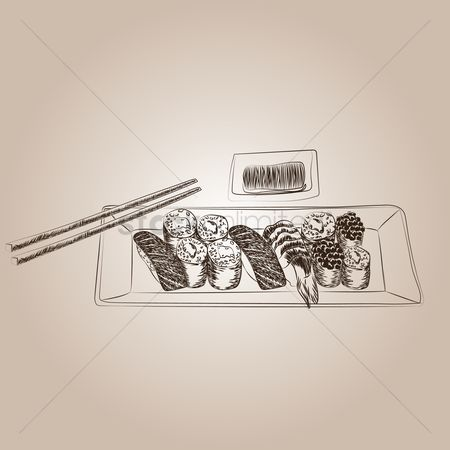 Japanese cuisines : Sushi with chopsticks