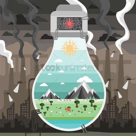 Pollution : Sustainability concept on preserving the environment