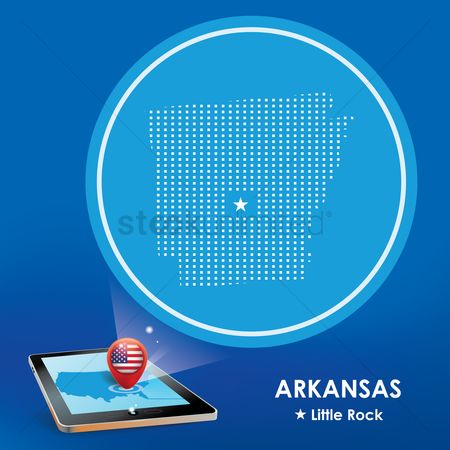 Arkansas : Tablet pc with arkansas map projection