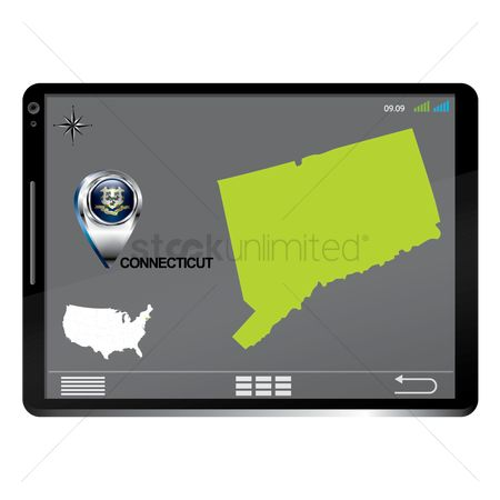Connecticut : Tablet pc with connecticut map