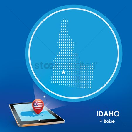 Boise : Tablet pc with idaho map projection