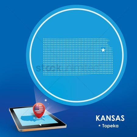 Kansas : Tablet pc with kansas map projection