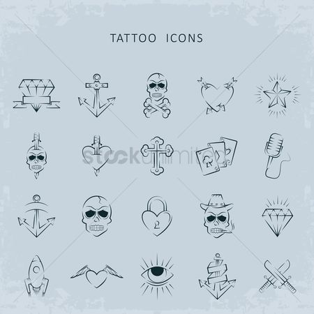 Microphones : Tattoo icon set