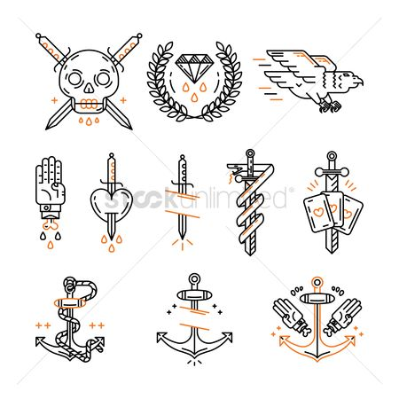 Patterns : Tattoo icon set