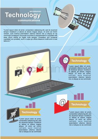 Marker : Technology communications infographic
