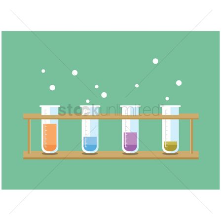 Chemicals : Test tubes with chemicals in a rack