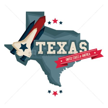 Spaceships : Texas map with a space rocket