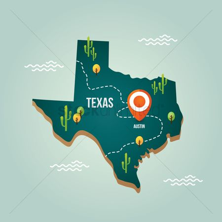 United states : Texas map with capital city