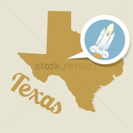 Texas : Texas map with rocket icon