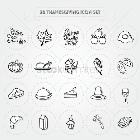 Croissant : Thanksgiving icon set
