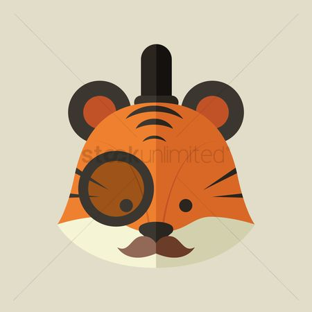 Animal : Tiger wearing a monocle