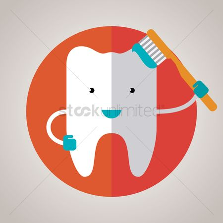 Dentist : Tooth character with brush