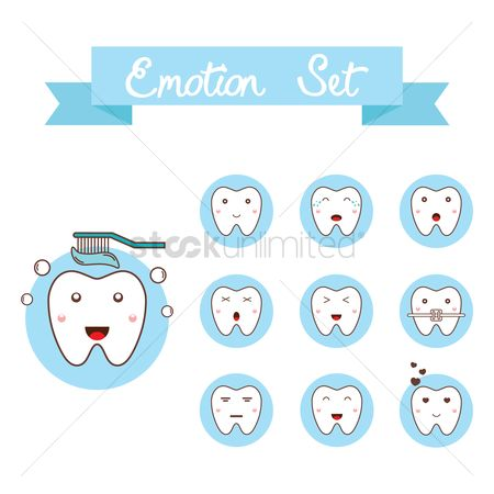 Tooth with braces : Tooth emotion set