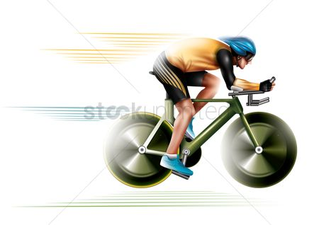 Race : Track cyclist in action