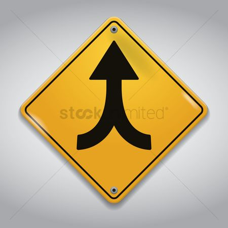 Attention : Traffic lanes merging sign