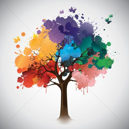 Multicolor : Tree leaves made out of paint splatters