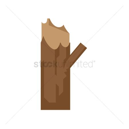 Logs : Tree stump with branch