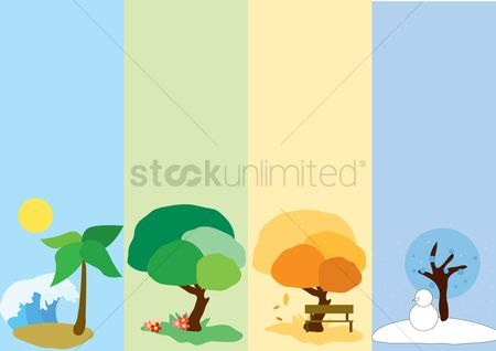 Summer : Trees in four different seasons