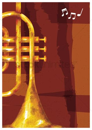 Brass : Trumpet with musical notes