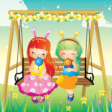 Eat : Two girls on swing eating lollipop