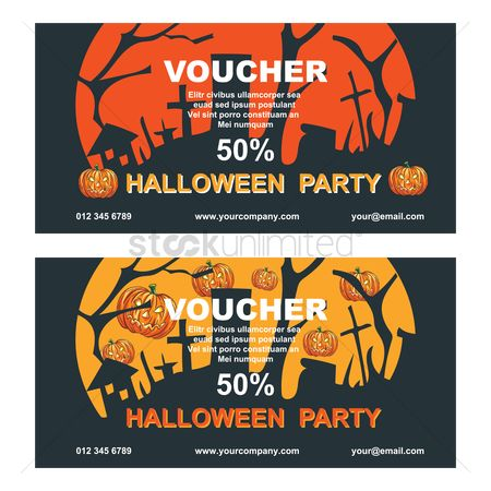 Jack o lantern : Two halloween party voucher