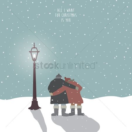 Festival : Two people embracing in the snow