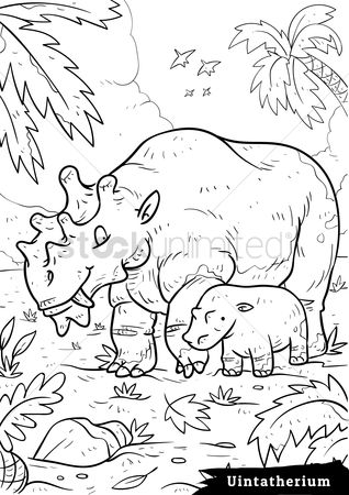 Colorings : Uintatherium with hatchling