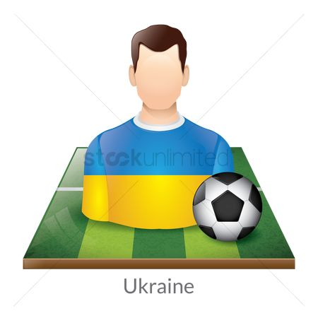 Ukraine : Ukraine player with soccer ball on field