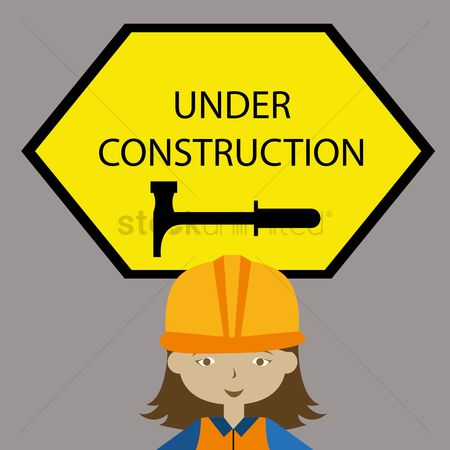 Contractor : Under construction sign with architect