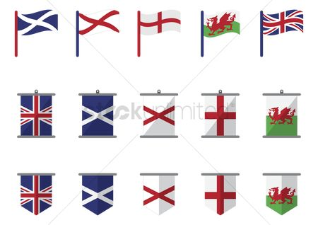 England : United kingdom flag set