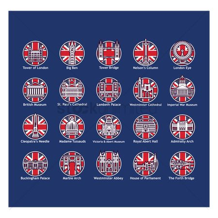 Royal : United kingdom landmark icons