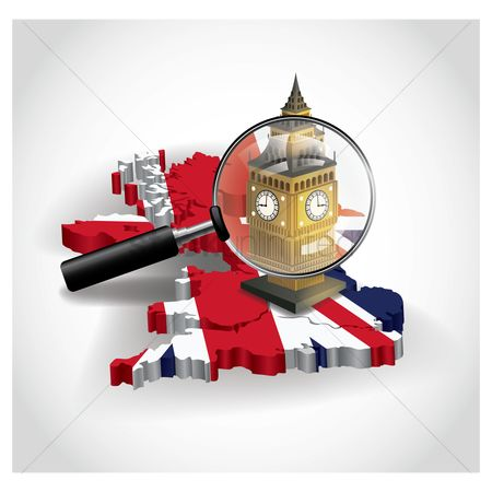 England : United kingdom map with big ben