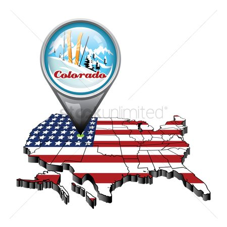 Colorado : Us map with pin showing colorado state