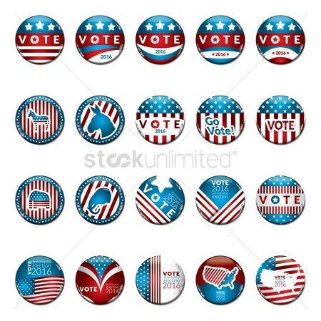 Votes : Usa election vote badges collection
