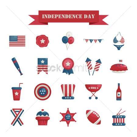 Bikinis : Usa independence day icons
