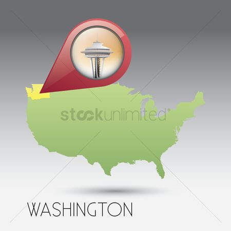 Space needle : Usa map with washington state