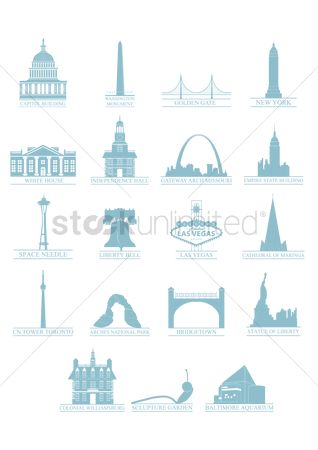 State : Usa monument and landmark set