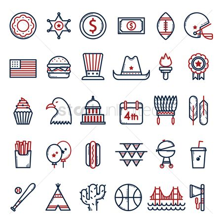 Baseball : Usa symbols collection