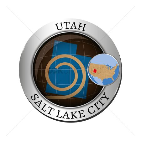 Utah map : Utah state with great salt lake badge