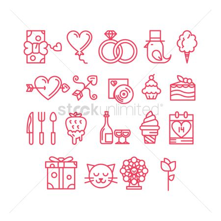 Weddings : Valentines day icons