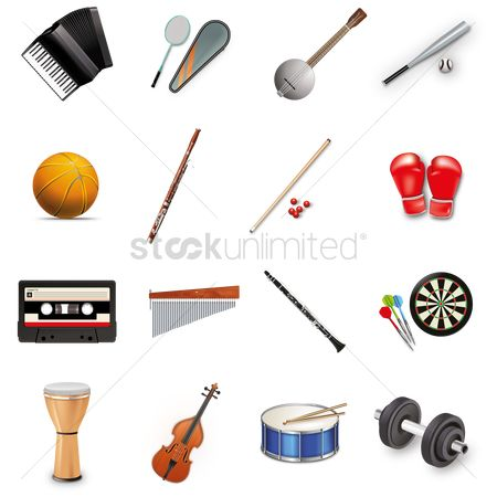Drums : Variety of items icon set