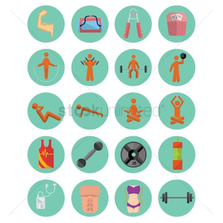 Dumb bell : Various fitness icons