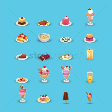 Plates : Various food and beverage